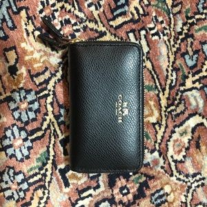 Coach double zip mini card case